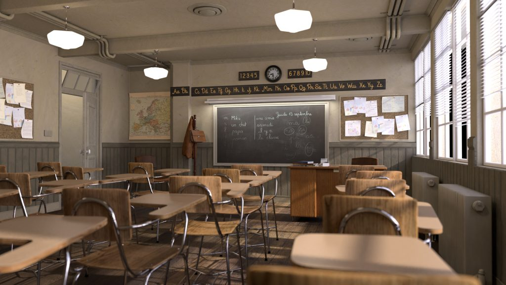 3d classroom in Blender