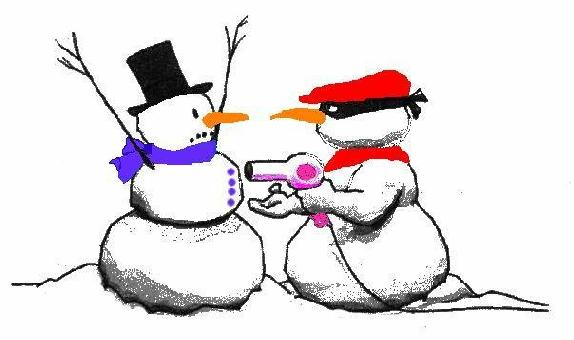 two snowman.  one dressed as a robber with a hairdryer